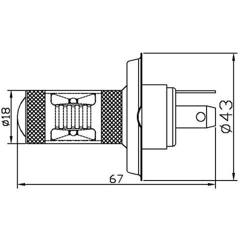Противотуманная LED лампа UP-7G-H4WB-30W (белая, 12-24 В) Превью 1